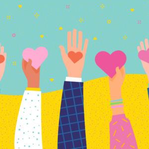 Hands holding cartoon hearts