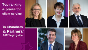 Combination of professional photographs of the top five individuals ranked for Band 1 in the chambers and partners guide
